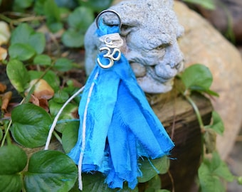 Mala Tassel, Sari Silk, Silver Ohm, Handmade Tassel, two tone Blue, Jewelry Crafts, DIY