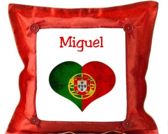 Red pillow personalized with name Portugal