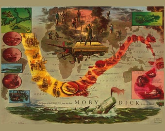 Moby Dick Poster~ from the Voyage of the Peqoud  from the Book Moby Dick ~ Literary art ~ Whales~ American Literature art ~  Giclee Print