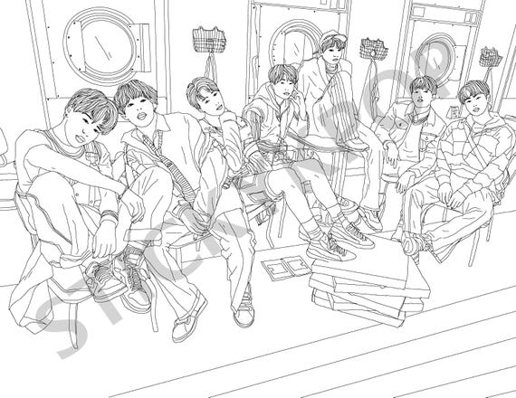 BTS Printable Coloring Page Love Yourself E
