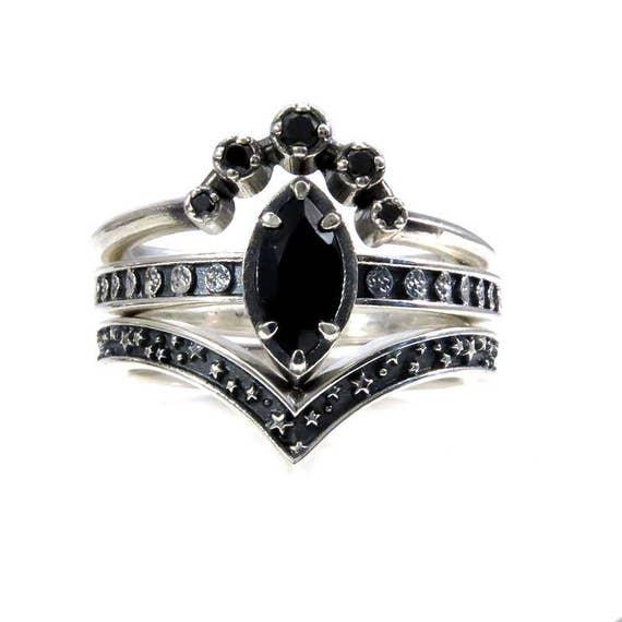 Black Spinel and Black Diamond Moon and Star Engagement Ring Set - Celestial Gothic Wedding Rings - Sterling Silver