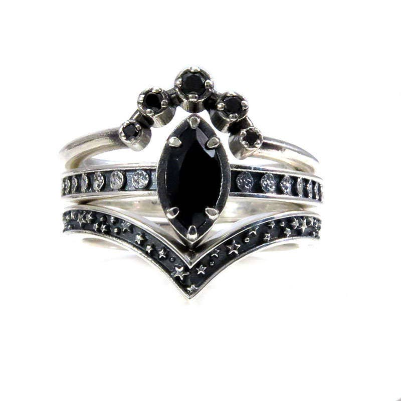 Black Spinel and Black Diamond Moon and Star Engagement Ring Set