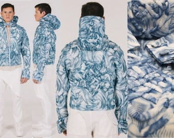 Blue and white knot jacket