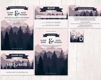 mountain wedding invites, nature inspired wedding design, forest wedding invitation set, forest woodlands wedding invites, stationary