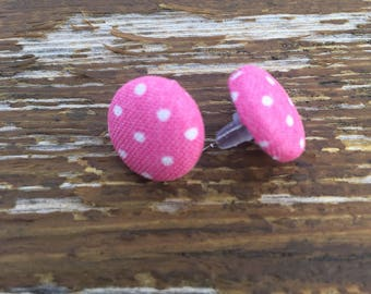 Pink Polka Dot Fabric Button Earrings, studs, girly, trendy, hipster, cute, unique, gifts for her,sister,daughter,mom,girlfriend