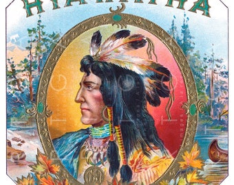 HIAWATHA Print Beautiful Vintage Cigar Label Art 1800's. Hiawatha Vintage Image. Digital Hiawatha Download.