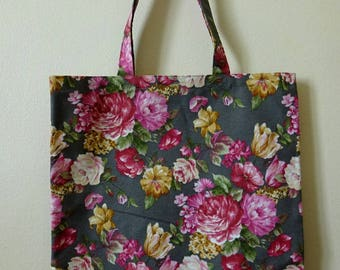 Simple Tote / Shopping bag - Plenty of flowers on dark gray, chic and fashion