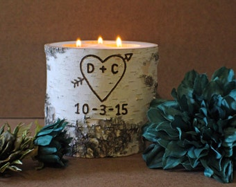 Gift for Wife, Husband, Fiance, Girlfriend, Boyfriend - Personalized Birch Candle Holder with Date