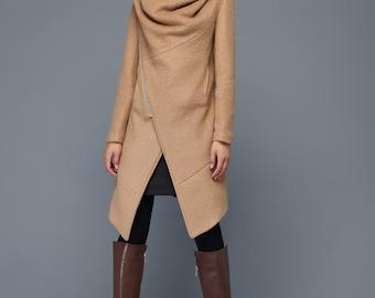 womens coats, wool coat, Asymmetrical coat, coats, jackets, womens jackets, brown coat, winter coat, long coat, women coats, coat   C959