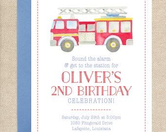 Watercolor Firetruck Invitation