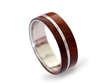 Men's stainless steel ring with red hearth inlay