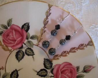 Sterling Silver, Gemstones and Swarovski Crystal Earrings.