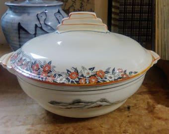 Crown Devon,Art Deco, Original Vintage, Lidded Dish, Vegetable Tureen, Serving Bowl Tableware