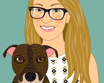 Cartoon me. Cartoon portrait. cartoon art. Custom portrait Illustration. Personalized digital drawing. Dog memorial. Cat memorial.