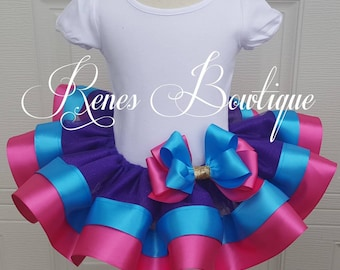 Birthday Party Ribbon Tutu | Ribbon Tutu | Birthday Party Outfit | Purple | Pink | Turquoise