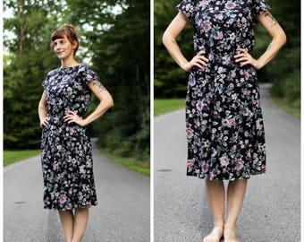 1980s Floral Swing Dress with Pockets