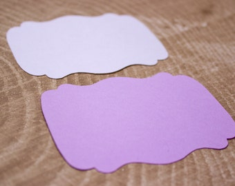 "Purple Die Cut 3.5"" Bracket Labels - DIY Die Cut Tags - Card Stock Label - Wedding - Shower"