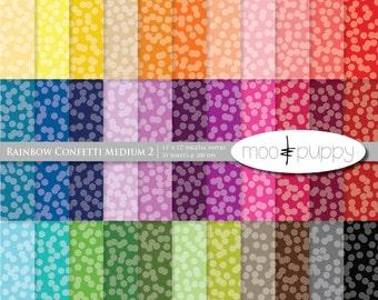 Digital Scrapbook Paper Pack  --  Rainbow Confetti Medium 2 (tinted) -- INSTANT DOWNLOAD