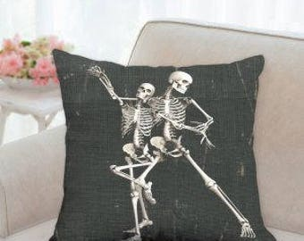Dancing Skeletons Halloween Pillow