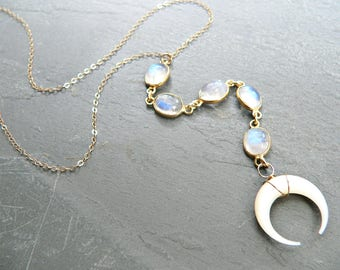 Rainbow Moonstone + Crescent Moon Lariat Necklace