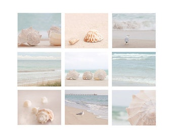 Beach Photography set of 9 prints, ocean photography, shell, seagull, beach house decor, soft pastel, beach art print set, ocean print set