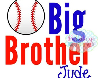 Baseball Big Brother or Little Brother IRON ON TRANSFER- Tshirt - Bodysuit - Tote Bags