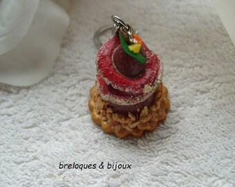 MODELAGE GATEAU GOURMAND bijou de sac desing chocolat disques framboise et feuilleté nougatine pour votre sac a main