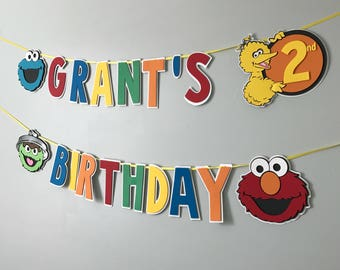 Sesame Street Themed Banner - Happy Birthday Banner -  Sesame Street - Custom Order Available