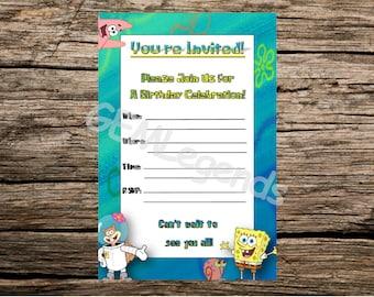 Spongebob Birthday Invitations, Spongebob Birthday, Spongebob Party, Spongebob Invite, Spongebob Party Invitations, INSTANT DOWNLOAD