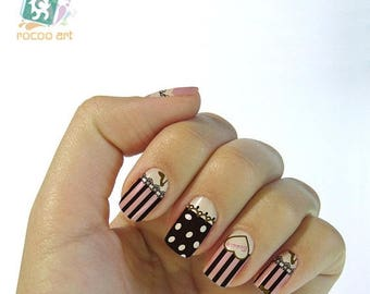 On Sale cute trendy nail stickers decals nail art water decals, Nail Water Decals Transfers Wraps