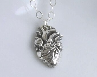 Sterling Silver Anatomical Heart Necklace or Charm Only, Medical Student/Professional, Graduation Gift, Cardiac Doctor/PA/Nurse