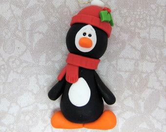 Penguin  handmade polymer clay Christmas Ornament