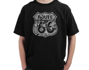 Boy's T-shirt - Popular Roadside Attractions & Stops Along Route 66