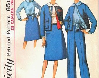 Simplicity 5897 Woman's Suit -Lined Box Jacket, Back Button Blouse, A-Line Skirt, Straight Leg Slacks Sewing Pattern Size 16 Vintage 1960's