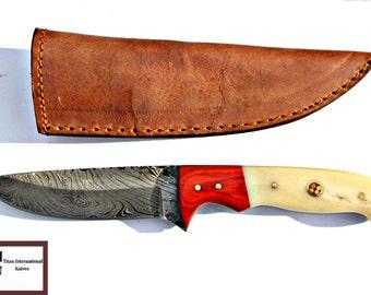 DAMASCUS KNIFE/ Titan/ Pekka Wood & Camel Bone IK-106