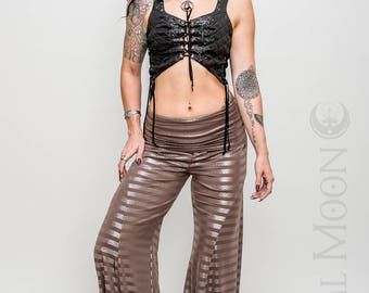 NEW: The Crescent Flare Harem Pants in Taupe and Metallic Silver Stripe Print by Opal Moon Designs (Size XS-XL)