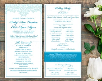 "Custom Designed Printable or Printed Wedding Programs (4""x8"") - Elegant Lace - Weddings and Rehearsal Dinners"