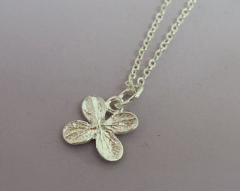 Sterling Silver Tiny Flower Necklace, Hydrangea, Free Shipping, Gardening Gift