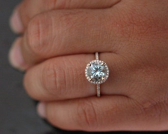 Aquamarine Ring Engagement Ring in 14k Rose Gold with Aquamarine 8mm Round and Diamonds (Bridal Set Available)
