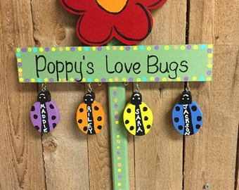 Personalized grandparent love bug garden stake