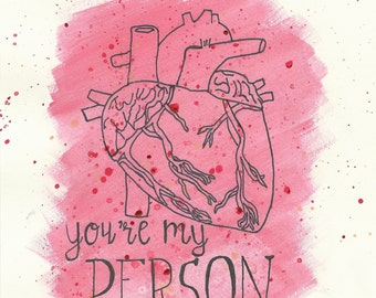 """Grey's Anatomy """"You're My Person"""" Blank Greeting Card / Valentine's Day Card"""