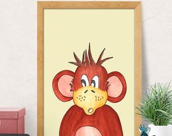 Monkey print, Nursery wall art, Modern Nursery decor, Nursery room wall decor, monkey nursery, Nursery wall decor, baby room decor, Minimal