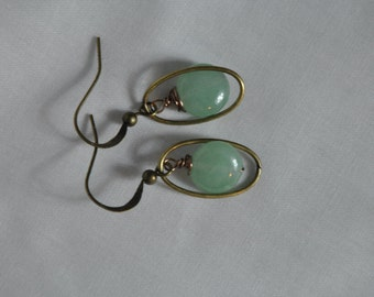 Green Dangle earrings. Green Jade earrings. Green drop earrings, Green aventurine earrings, Green earrings