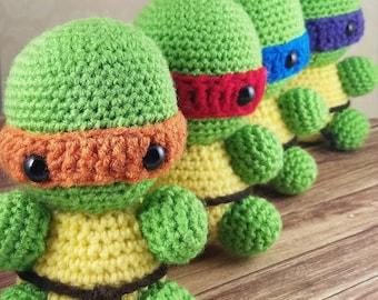 Amigurumi Tortoise Tutorial : Amigurumi ninja etsy