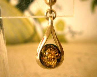 Amber Sterling drop Earrings