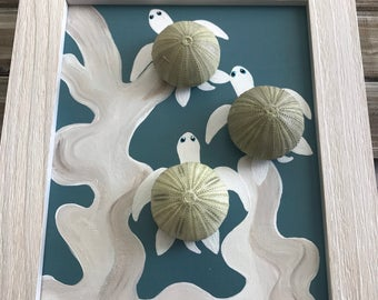 Sea turtle Art. Urchin Turtle Canvas.