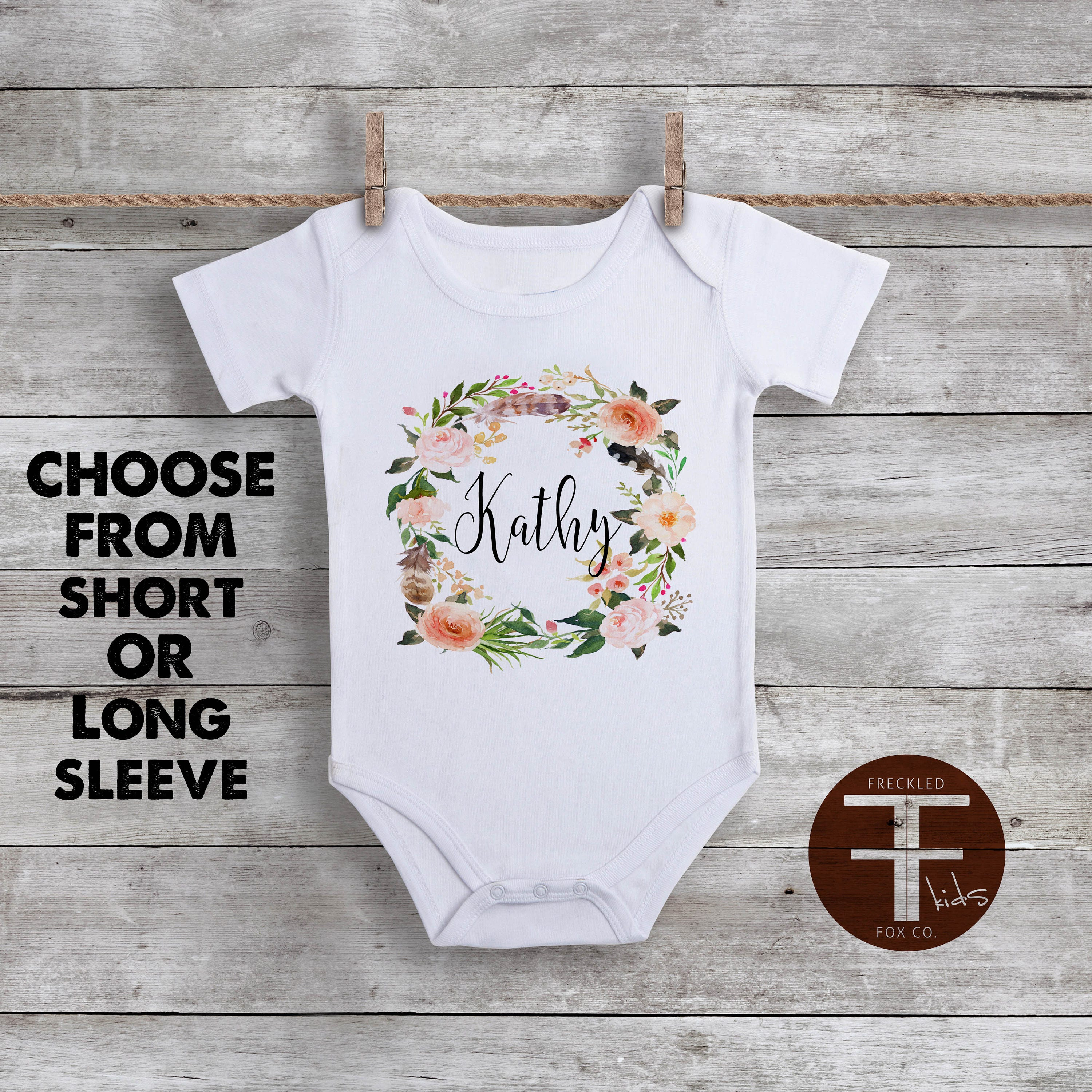 Custom Name esie Boho Baby Clothes Watercolor Floral Baby