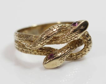 9ct Gold Double Headed Coiled Serpent Snake Head Ring Ruby Eyes  UK Size M 1/2 US 6.50
