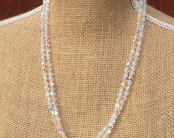 Aurora Borealis glass beaded long necklace
