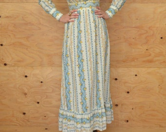 Vintage 70's Dress Creamy Blue Prairie Empire Maxi With Calico Floral Print SZ S